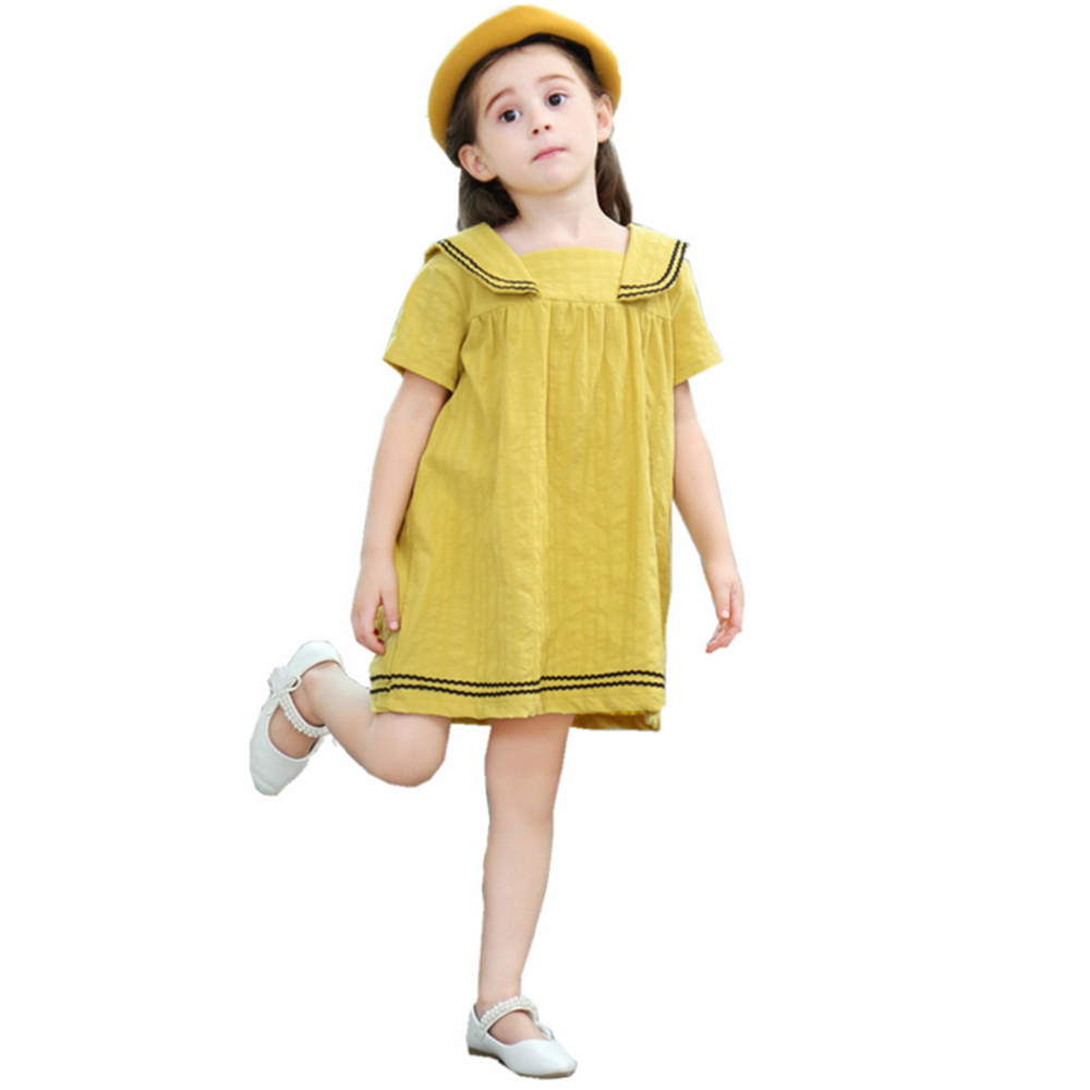 New Girls Casual Summer Dress Cotton Korean Version Preppy Baby Girl Dresses Baby Girls Dress Summer Dress Clothing Kids Clothes