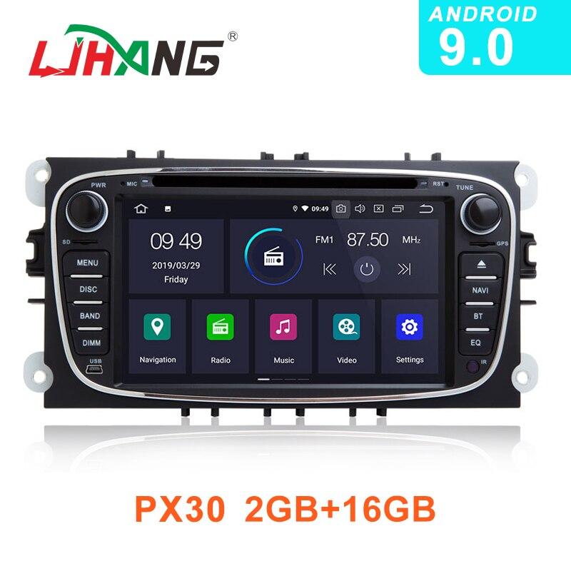 LJHANG Android 9.0 lecteur DVD de voiture pour FORD Focus/S-MAX/Mondeo/C-MAX/Galaxy GPS Navigation 2 Din multimédia autoradio stéréo WIFI