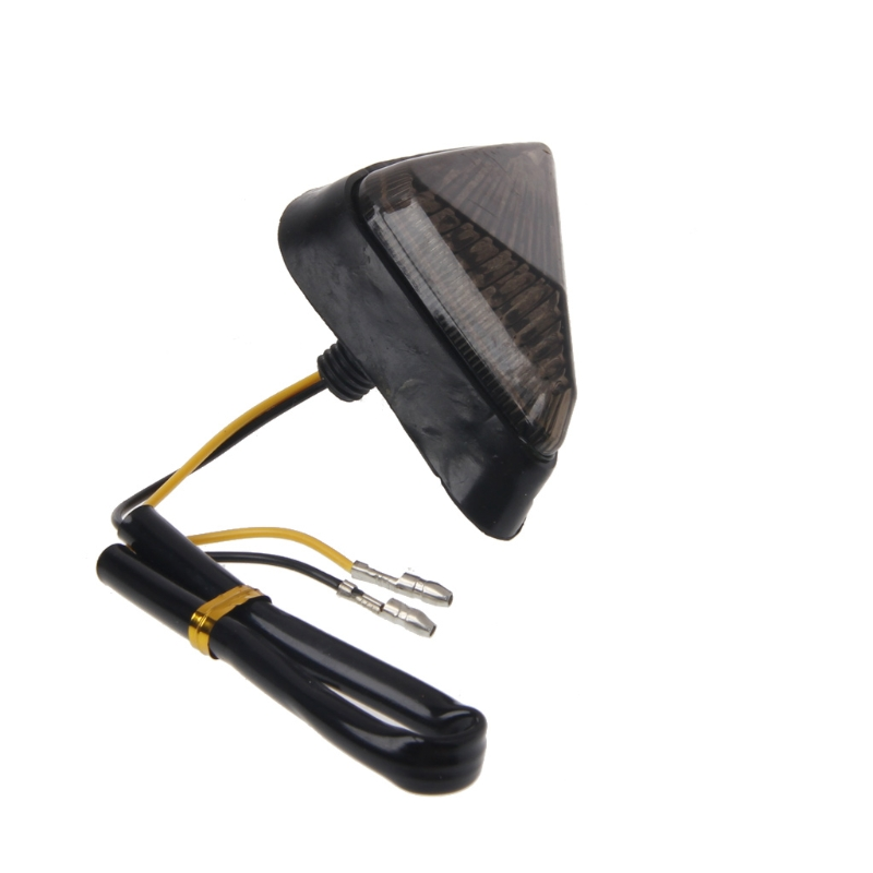 1 Pair Triangle Flush Motorcycle Turn Signal Bulb Blinkers Indicator Light 9 LED Smoke Lens For For Honda Yamaha Suzuki YZF GSXR