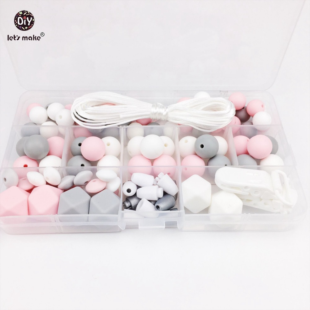 Let's Make Silicone Teething Accessories DIY Beads Set Teething Jewelry Hand Made Pacifier Clip Silicone Beads Baby Teether