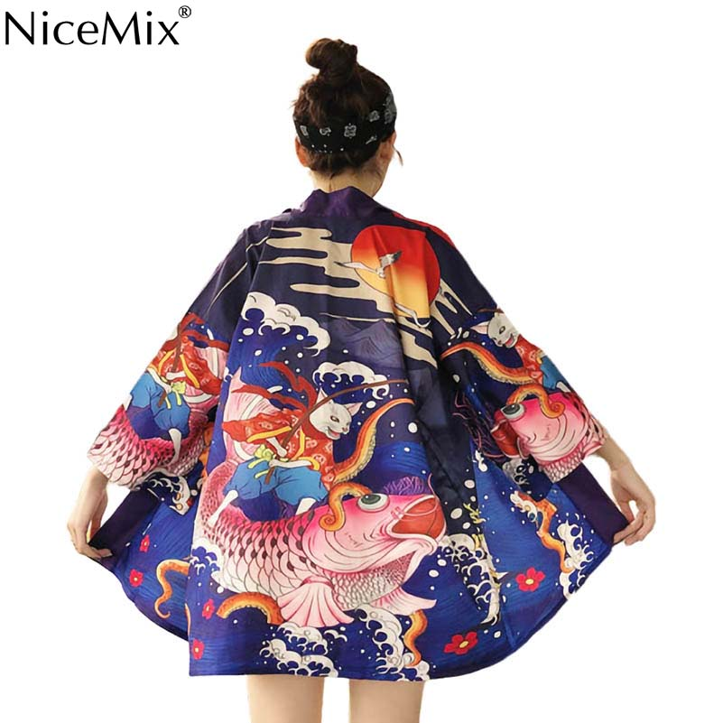 NiceMix Harajuku Japan Style Summer 2019 Kimono Blouses Yukata Digital Print Thin Shirts Cosplay Sunscreen Women Tops new in Blouses amp Shirts from Women 39 s Clothing