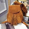 Mara's Dream Casual Women Backpack Tassels Rucksack Solid Women Shoulder Bag Satchel Faux Suede Leather Mochilas School Bag