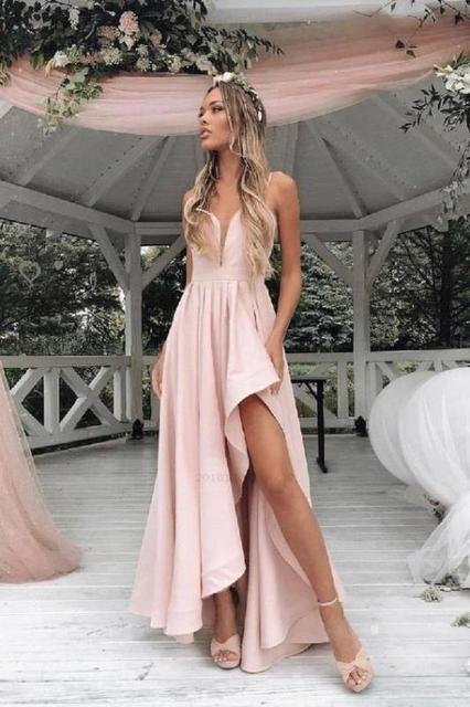 Simple Sur Mesure Pas Cher Long Nu Rose Satin Plage Haute Sit Mariage Robes De Demoiselle D Honneur Femmes Robes De Soiree 2019 Aliexpress