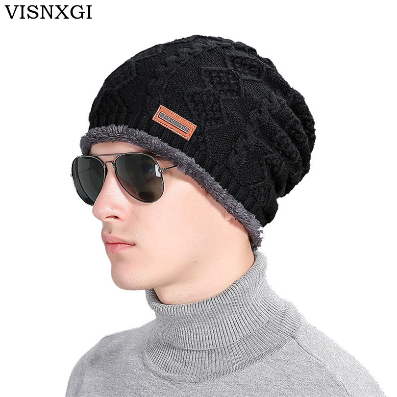 VISNXGI New 2017 Thick Cotton Cap Men Women Winter Warm Hot Sale High Quality Knitting Brand Casual Hat Female Skullies Beanies