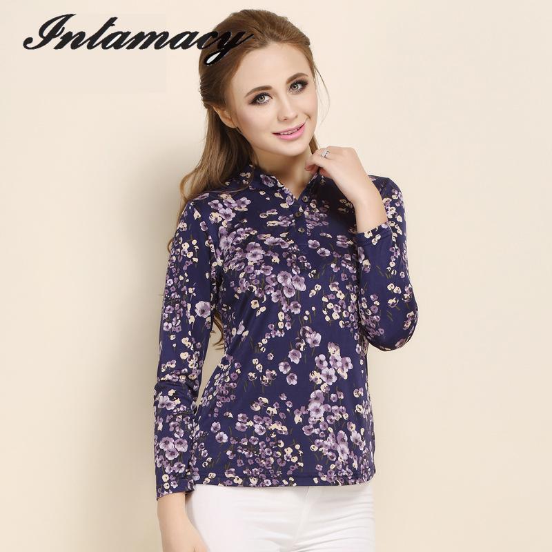 Blusa de seda 100% REAL con estampado de camisa de manga larga y cuello tejido de seda-in Blusas y camisas from Ropa de mujer    1