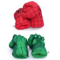 2 пары 13 ''Невероятный Халк Smash руки + Человек-паук Плюшевые Прихватки для мангала паук Performing реквизит Игрушечные лошадки отличный подарок