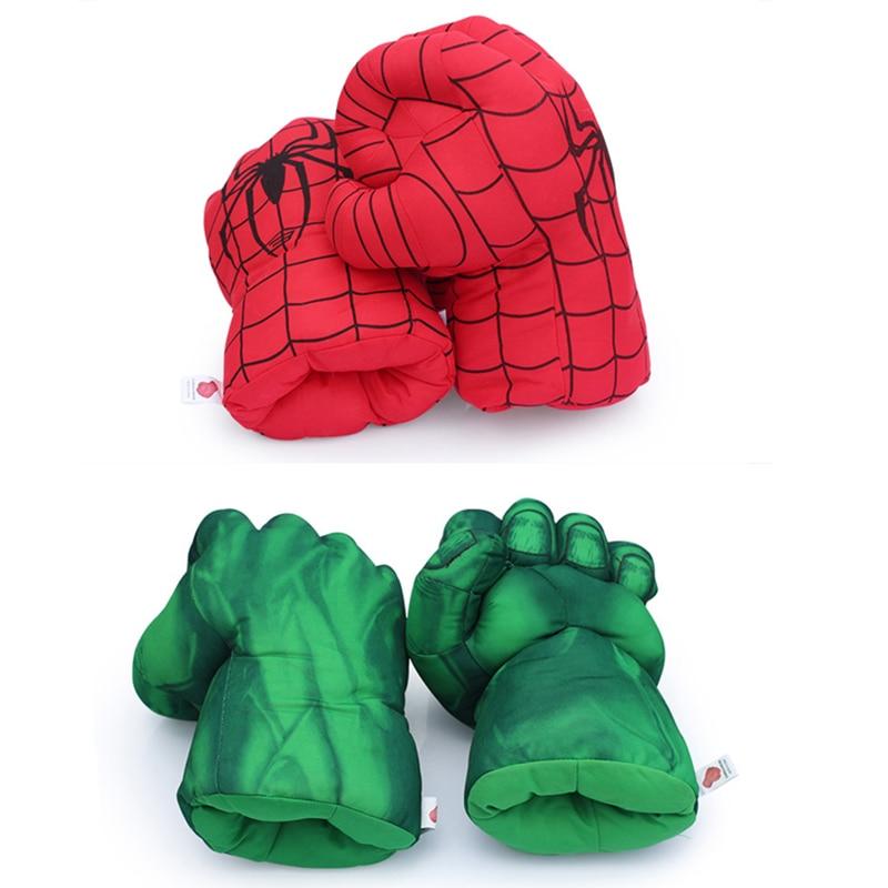 2Pairs 13'' Incredible Hulk Smash Hands + Spider Man Plush <font><b>Gloves</b></font> <font><b>Spiderman</b></font> Performing Props Toys Great Gift