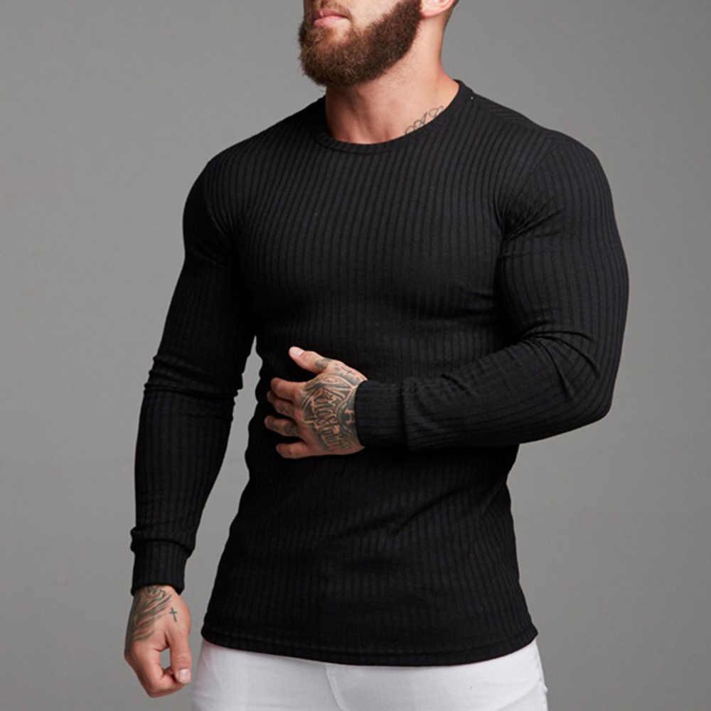 2019 Yeni Erkekler Temel Triko Ince Sonbahar Spor Erkekler Uzun Kollu Örgü Kazak Bahar Erkek Kazak Casual Streetwear Spor Giyim