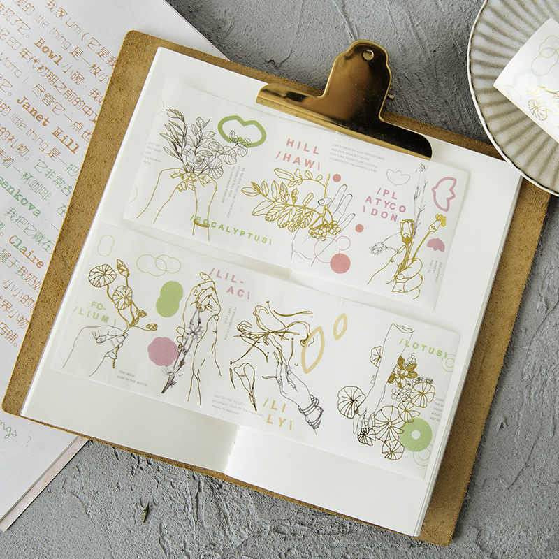 6-10CM de ancho creativo Kawaii flores decorativo Washi Tape DIY Scrapbooking cinta adhesiva escuela Oficina suministro JD82
