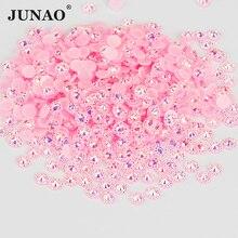 JUNAO 4 5 6 мм Розовый AB круглой формы в форме цветка Стразы для ногтей с украшением в виде кристаллов со стразами наклейки плоская задняя част смола камни для ювелирных изделий Ремесла