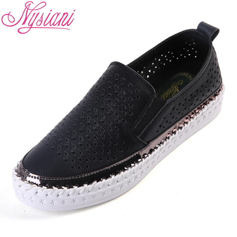Leather Hollow Platform Loafers