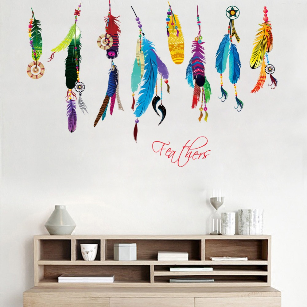 Wall stickers art gallery home wall decoration ideas classic creative dream catcher feather wall sticker art decal classic creative dream catcher feather wall sticker amipublicfo Image collections
