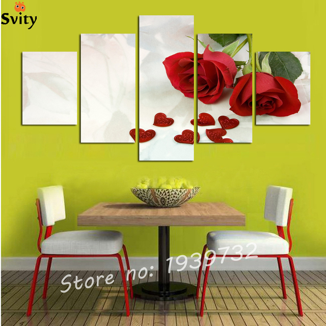 Aliexpress.com : Buy 5 Panels Red Rose Canvas Painting for Living ...