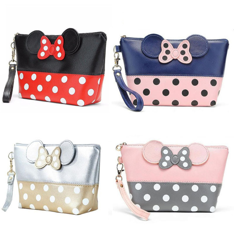 100PCS / LOT Travel Cosmetic Bag Cartoon Bow Makeup Case Women Zipper Holding Handbag Organizer Storage Pouch Toiletry Wash Bags