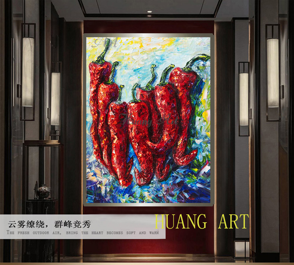 Hand painted oil painting farm chili rural folk customs pastoral Gallery hallway decorative painting hanging painting unframed in Painting Calligraphy from Home Garden