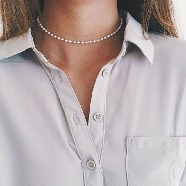 2Pcs Fashion White Faux Pearl Beads Necklace Elegant Imitation Fake Pearl Choker