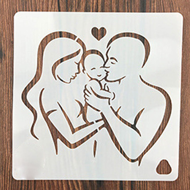 Dad Mom Kiss Newborn Baby Heart Stencils for DIY Scrapbooking