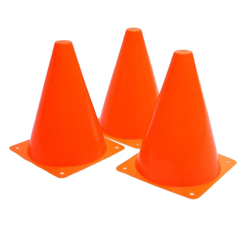 Plastic Traffic Cones - 12 Pack Of Multipurpose Construction Theme Party Sports Activity Cones For Kids Outdoor And Indoor Gam