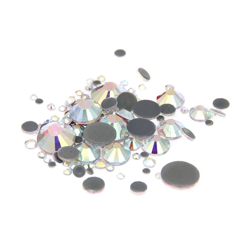 New Strass Glass Crystal AB Rhinestones Hotfix ss4-ss30 Mixed Flatback Round For 3D Nails DIY Design Stickers Decorations modamostra strass 2384 прозрач