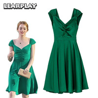 La La land Mia Green Dress Cosplay Costume Emma Stone Sexy Halloween Party Evening Dresses Backless V Neck Women Dress