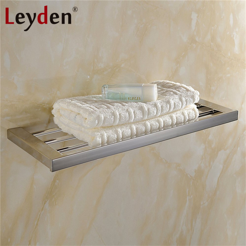 Leyden Bath Towel Holders Polished Chrome Wall Mounted Square Modern Towel Rack Stainless Steel Towel Racks Bathroom Accessories leyden bathroom towel rack holder wall mounted black towel rack shelf stainless steel modern towel rack bathroom accessories