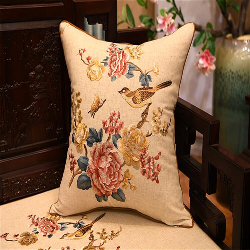 free shipping natrual cotton linen classical throw <font><b>Pillow</b></font> with inner <font><b>50x50cm</b></font> <font><b>Pillow</b></font> embroidery cushion <font><b>pillow</b></font> chair <font><b>decorative</b></font> image