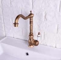 W stylu Vintage Retro antyczny mosiądz pojedynczy uchwyt jeden otwór łazienka zlewu kuchennego zlew kran mikser dotknij obrotowy wylewka Deck Mounted msf117
