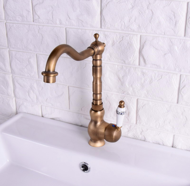 Vintage Retro Antique Brass Single Handle One Hole Bathroom Kitchen Basin Sink Faucet Mixer Tap Swivel Spout Deck Mounted Msf117