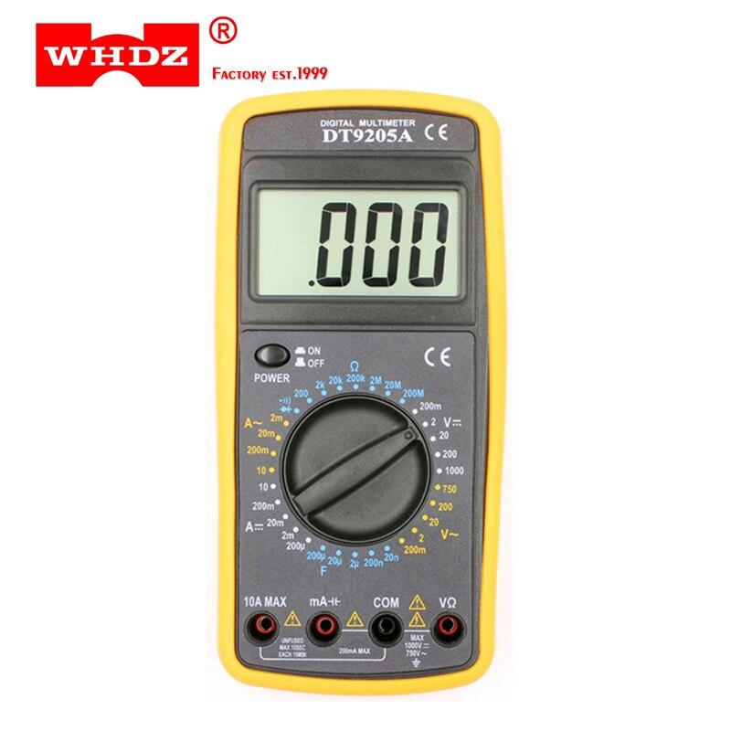 WHDZ DT9205A de base numérique multimètre capacité hFE Test ampèremètre voltmètre testeur de résistance AC DC électrique LCD portable