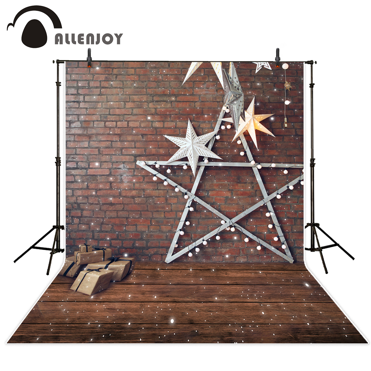 Allenjoy photography backdrops red brick wall snowflake star decoration wood beautiful backgrounds for photo studio professional allenjoy photography backdrops neat wooden structure wooden wall wood brick wall backgrounds for photo studio