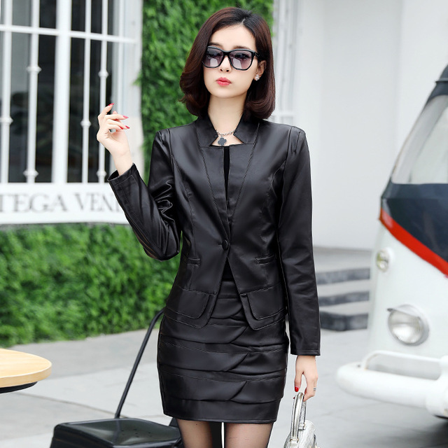 Womens Faux Leather Skirts Suits for Women Pu Blazer and Skirt 2 Pieces Set Clothing Black Red Office Ladies Casual Outfit