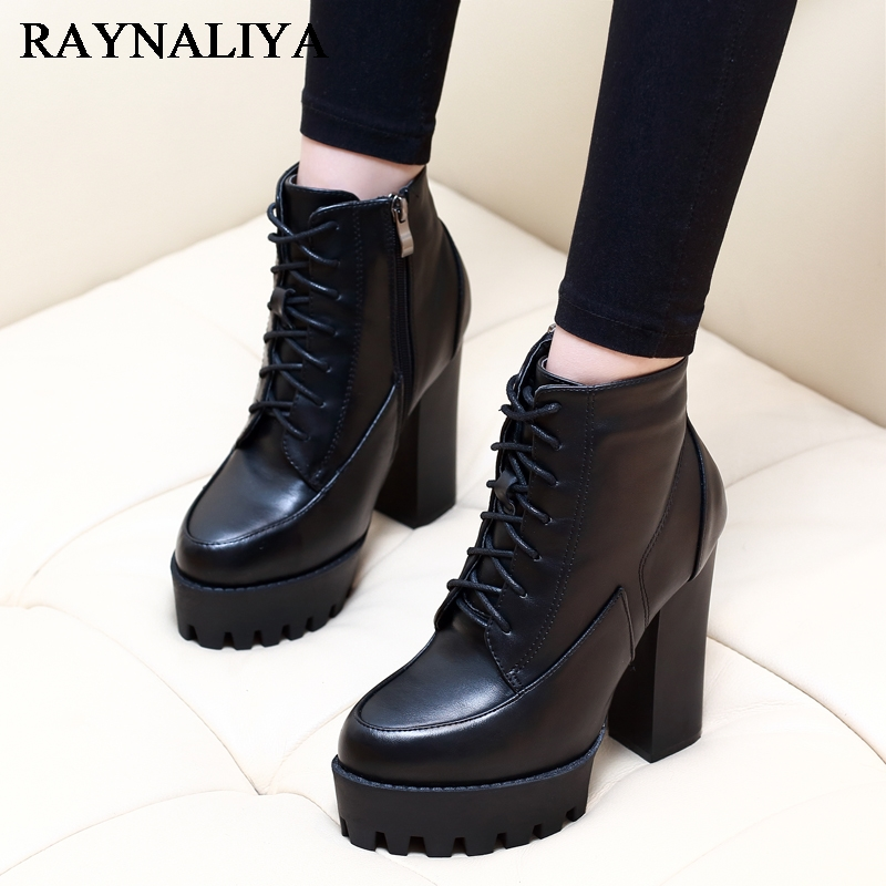New Autumn Winter Women Fashion Ankle Boots High Quality Solid Lace-up Ladies Shoes Genuine Leather Boots Black CH-A0002 настенный газовый котел vaillant turbo tec plus vu 202 5 5