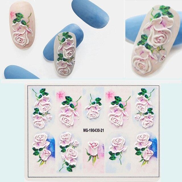 1 adet 3D DIY Akrilik Oyulmuş çiçek Tırnak Etiket Kabartmalı Çiçek Akçaağaç yaprağı dondurma Su Çıkartmaları Empaistic Tırnak Su çıkartmaları