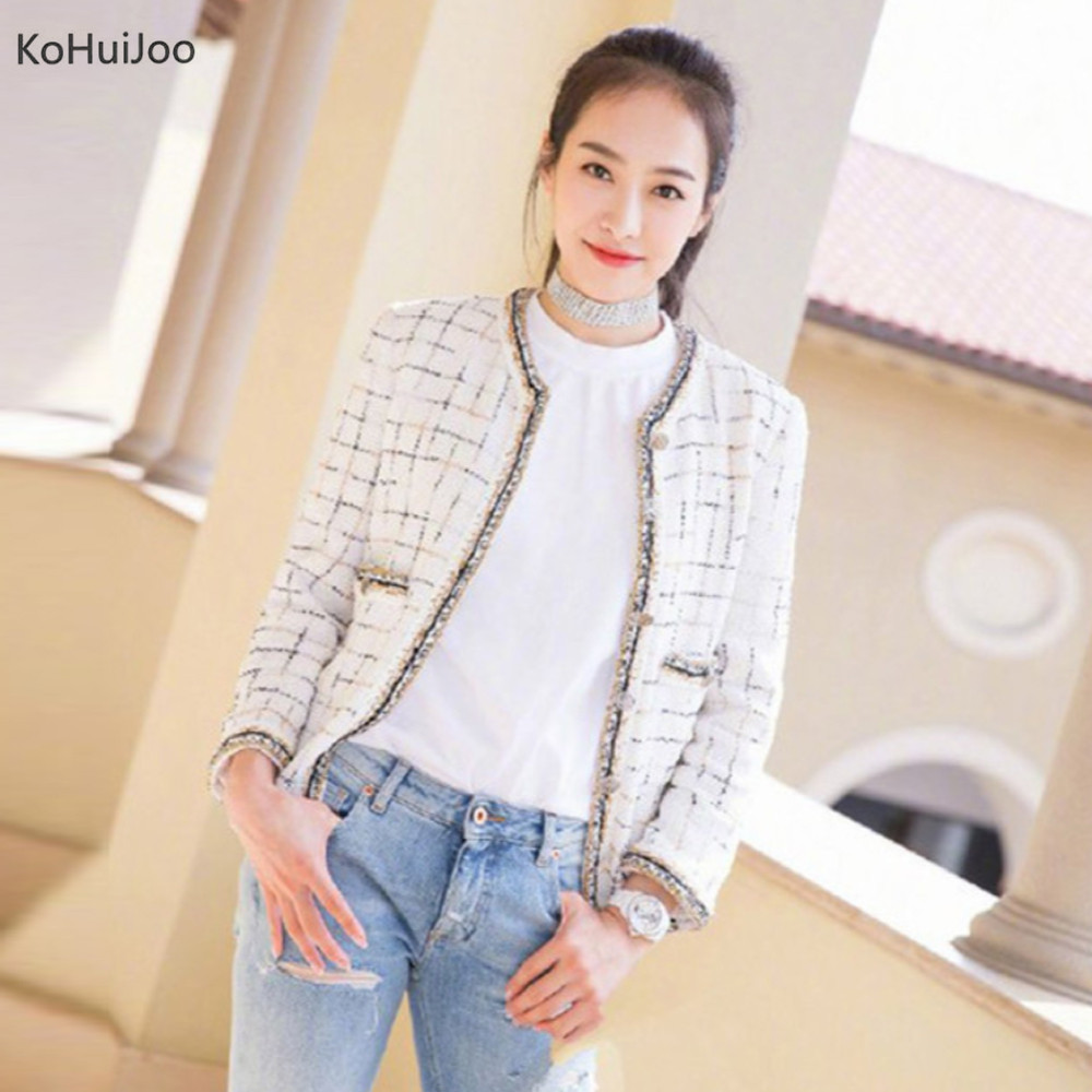 KoHuiJoo Autumn Winter Ladies Tweed Jacket Fashion V Neck Button Black White Plaid Basic Coats Women Long Sleeve Wool Jackets