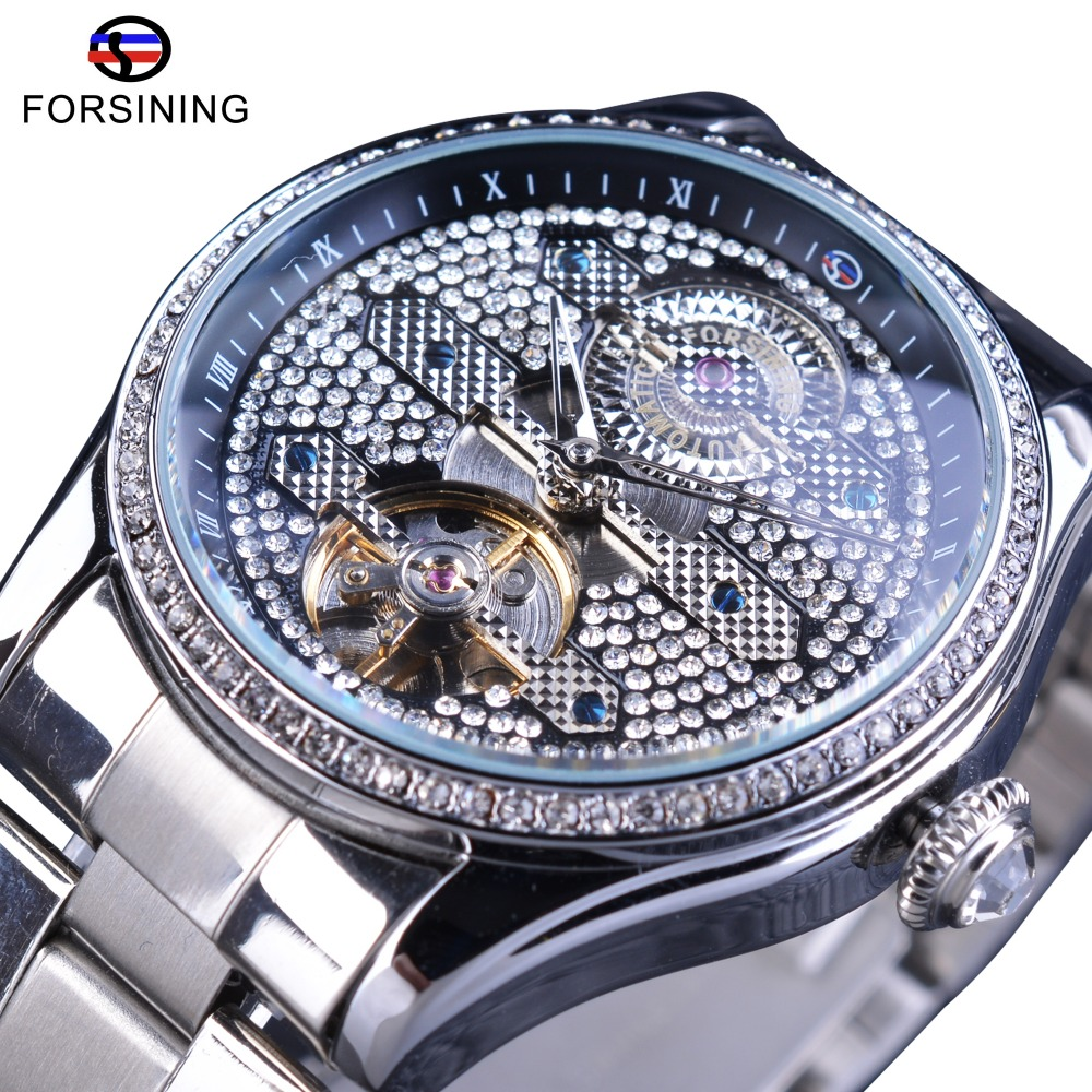 Forsining Diamond Luxury Trendy Luxury Stainless Steel Fashion Automatic Mens Wrist Watch Luxury Brand Fashion Tourbillion Clock цена 2017