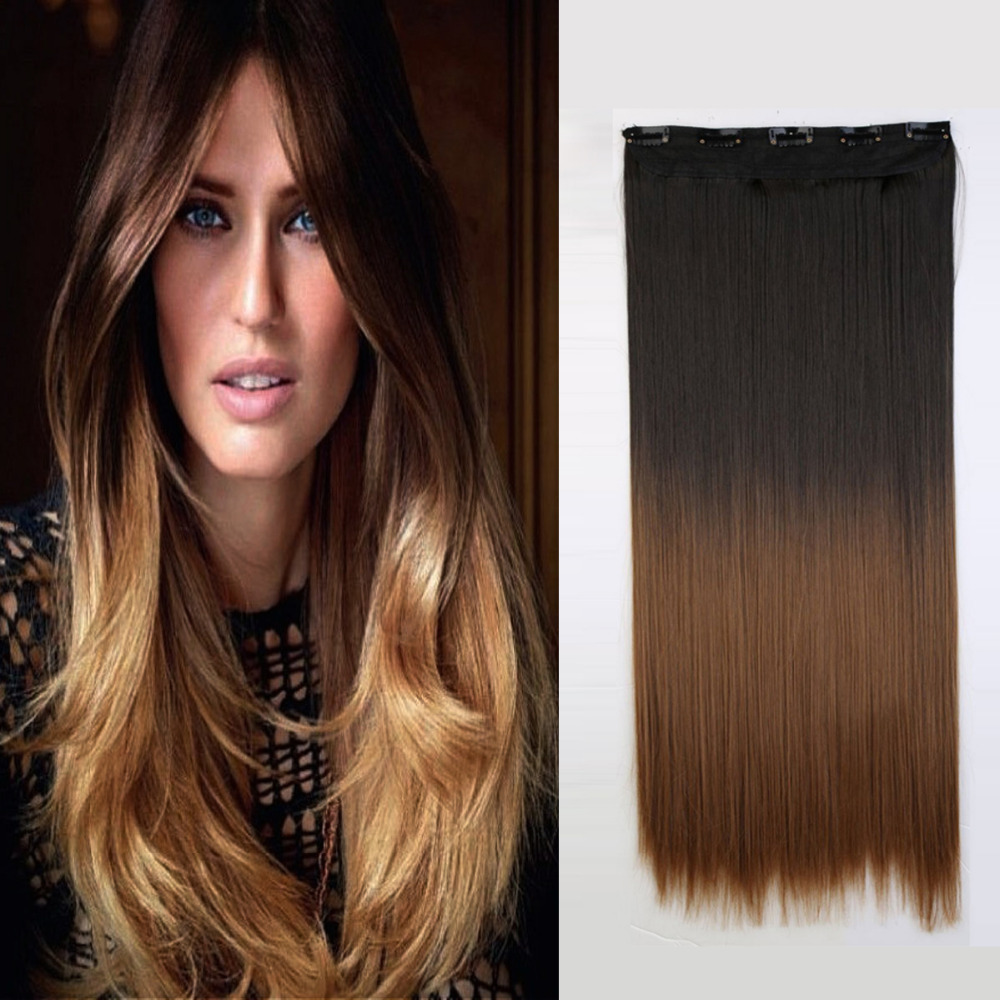 Fashion 60cm 24 One Piece Clip In Straight Synthetic Dip Dye Ombre