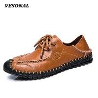 VESONAL New 2017 Luxury Genuine Leather Flats Italian Mens Loafers Men Shoes Soft Driving Designer Handmade