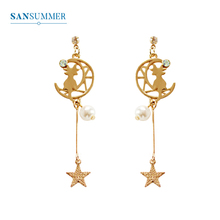 SANSUMMER Pendant Earrings Stylish Metal Hollow Moon Cat Pearl Star Earrings Fashion Jewelry Womens Accessories Earrings 5206 все цены