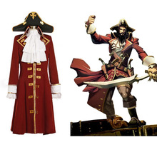 Pirate Captain алый плащ костюм для взрослых Для мужчин пиратский костюм Индивидуальный заказ