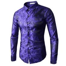 Hawaiian Shirt Men Embroidered pattern Long sleeve Mens Dress Shirts Stage Blouse men Red Yellow