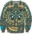 2016 otoño Nueva Moda Hombres/Mujeres religión dios búho de sueños 3D Print Sudaderas ropa de moda Sudadera pullover