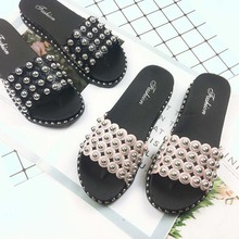 Fashion bling cutout slippers woman pink love rivets open to
