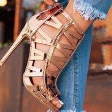 Высокое Качество Летние Сандалии Женщины Стилет Вырез Элегантные Линии Sexy Высокие Каблуки Шампанское Золото Женские Танцы Обувь Zip