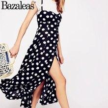 Polka dot color negro vestido de escote corazón corte cuadrado escote  corbatas volver botones vestido del resbalón del verano 817568fd74cb