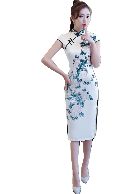 Shanghai Geschichte Kurzarm Chinesischen Qipao Kleid 2 Schicht ...