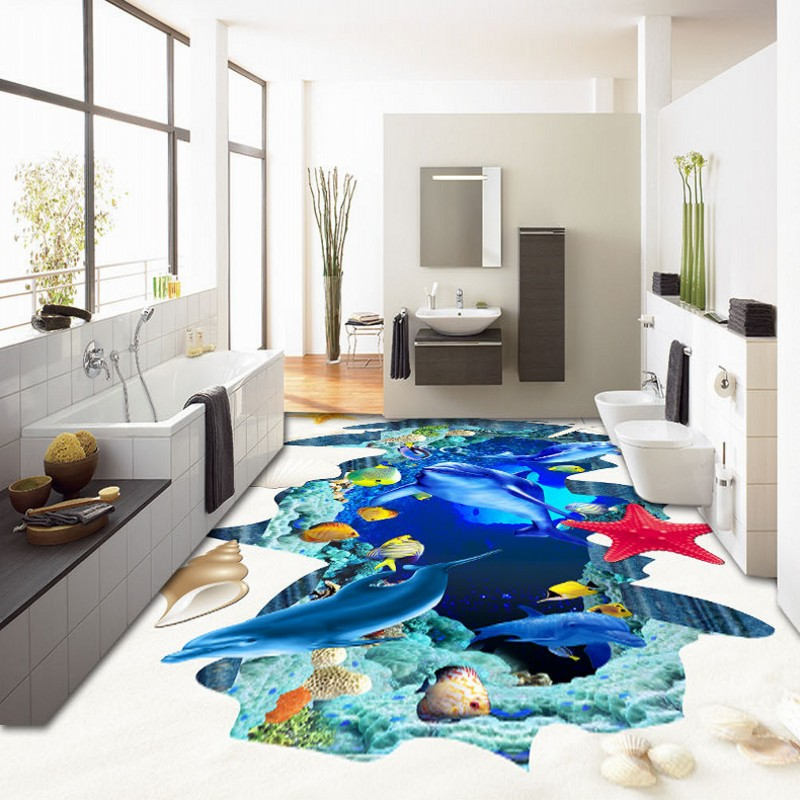 ФОТО Free Shipping Creative underwater world coral shells flooring wallpaper bedroom hotel decorative waterproof floor mural