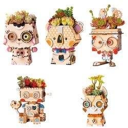 Rolife vaso de plantas diy dos desenhos animados vaso de flores decoração de madeira suculentas caixa jardim bonsai pote para flores jardim decoração de escritório em casa