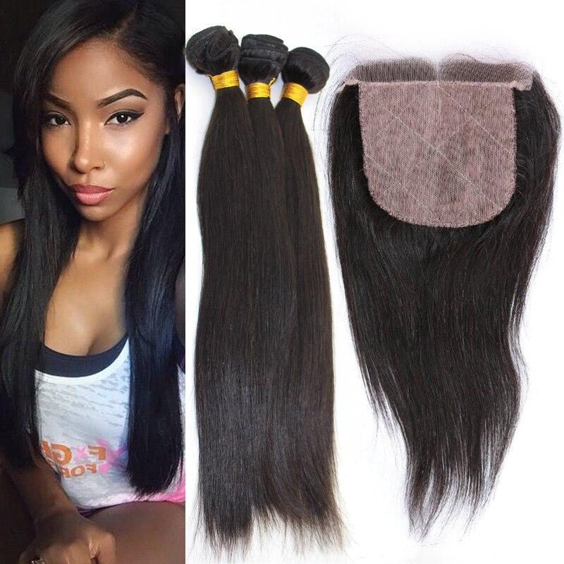 7a Russian Virgin Hair With Silk Closure 3 Bundles With Silk Base