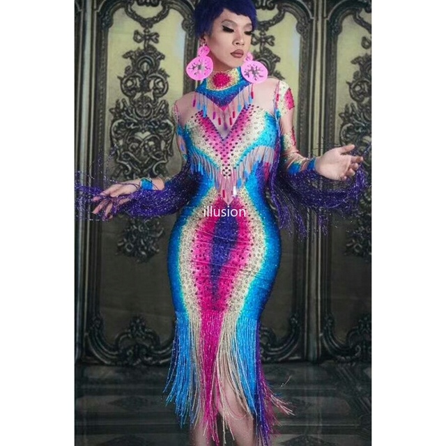 Fashion Colorful Rhinestones Fringes Dress Women Evening Celebrate Elegant Party Dress Sequin Tassel Dance Costume Bodycon Dress
