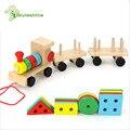 Skyleshine Montessori Toys Wooden Stacking Shape Geometry Blocks Train Diecasts Vehicle Set Combination Educational Toys Kids